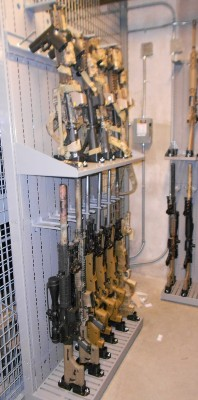 Military Weapon Shelving in Weapon Cage