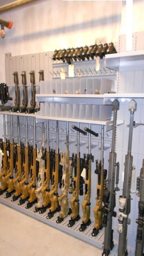 Military Weapon Shelving with Weapon Holders