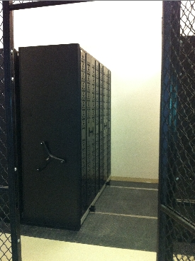 Mobile Weapon Rack System inside cage
