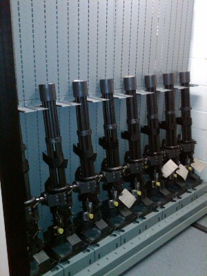 GAU Storage on Combat Mobile Weapon Rack Shelving