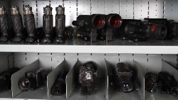 NVGs stored with dividers on shelves for cubby holes