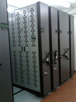 44' L Mobile Weapon Rack system in ARMAG duplex arms room